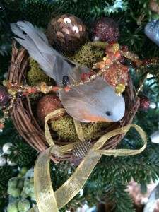 Nesting bird ornament